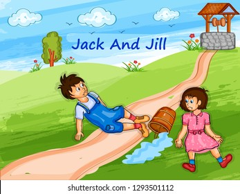 Nursery Rhymes Jack and Jill for kids learning school education. Vector illustration