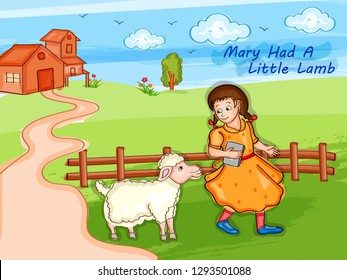 Nursery Rhymes Mary Had a Little Lamb for kids learning school education. Vector illustration