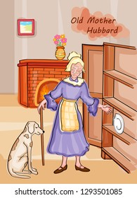 Nursery Rhymes Old Mother Hubbard for kids learning school education. Vector illustration