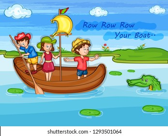 Nursery Rhymes Row Row Row your Boat for kids learning school education. Vector illustration