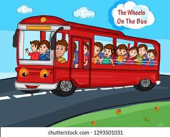 Nursery Rhymes The Wheels on the Bus for kids learning school education. Vector illustration