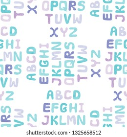 Nursery seamless pattern with Alphabet letters. Cute alphabet seamless background.