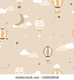 Nursery Vector seamless pattern with vintage balloons with animals on the night sky. Cute face in the Scandinavian style. For children's textiles, wallpaper, fabrics, clothing, packaging
