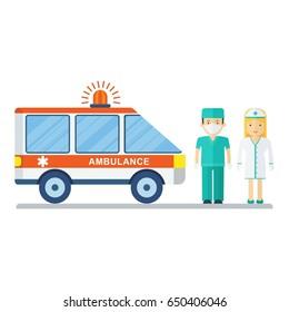 Nurses and ambulance. Flat vector cartoon illustration. Objects isolated on a white background.