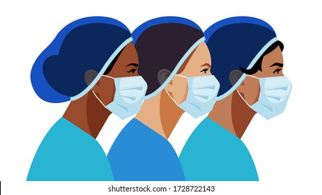 Nurses in medical mask and hat. Multi-ethnic group of people medical occupation. Doctor, nurse, surgeon, assistant. Staff for people care, treatment, save of life. Vector modern illustration.