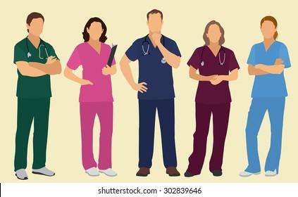 Nurses or Surgeons Wearing Scrubs