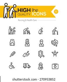 Symbole für Krankenpflege und Gesundheitsversorgung