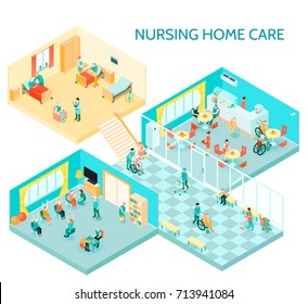 Nursing home care facility isometric composition with hall daily activities communication room canteen and bedroom vector illustration