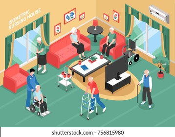 Nursing home interior with staff, elderly people in wheelchair, with walkers or cane isometric vector illustration