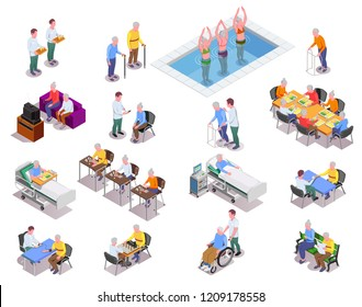 Nursing home isometric icons set with staff  monitoring patients and elderly people playing sport exercises or board games isolated vector illustration
