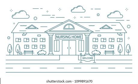 Nursing home line building on white background.