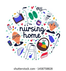 Nursing home set. Senior people and nursing home items on white background, medical care concept. Senior people healthcare assistance round composition. Flat style Vector illustration