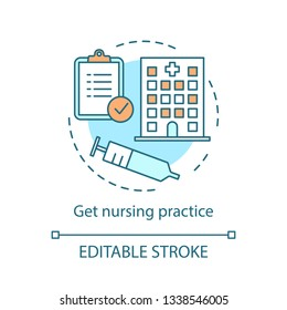 Nursing practice concept icon. Medical service idea thin line illustration. Nurse, caregiver vector isolated outline drawing. Hospital, clinic practitioner. Health care provider. Editable stroke