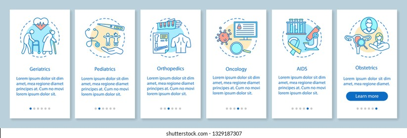 Nursing service onboarding mobile app page screen, linear concepts. Medicine and healthcare. Walkthrough steps graphic instructions. Geriatrics, pediatrics. UX, UI, GUI vector template, illustrations