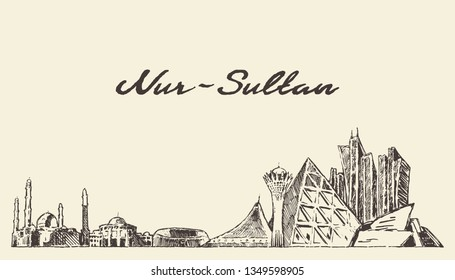Nur-Sultan (Astana) skyline, Kazakhstan, hand drawn vector illustration, sketch
