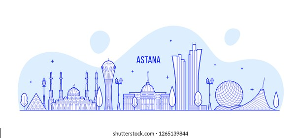 Nur-Sultan (Astana) skyline, Kazakhstan. This illustration represents the city with its most notable buildings. Vector is fully editable, every object is holistic and movable