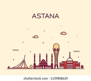 Nur-Sultan (Astana) skyline, Kazakhstan. Trendy vector illustration, linear style