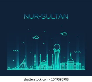 Nur-Sultan (Astana) skyline, Kazakhstan. Trendy vector illustration, linear style