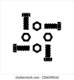Nut And Bolt Icon, Hex Nut Vector Art Illustration
