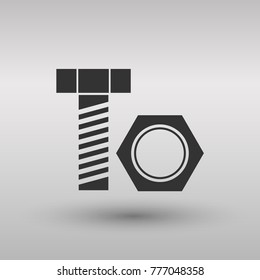 Nut and bolt icon isolated on background. Modern flat pictogram, business, marketing, internet concept. Logo illustration