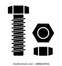 Nut and bolt icon in trendy silhouette style design. Vector illustration isolated on white background.