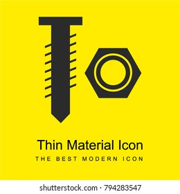 Nut and bolt tools couple bright yellow material minimal icon or logo design