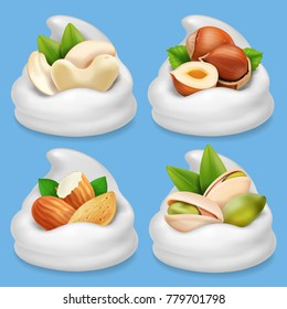 Nut collection realistic in milk or milk chocolate . Hazelnut, pistachio, almond, cashew
