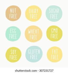 Nut, dairy, sugar, egg, wheat, gmo, gluten,soy, fat free signs