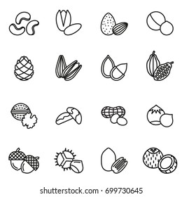 Nut icons Set. Line Style stock vector.