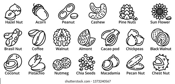 Nut icons set. Outline set of nut vector icons for web design isolated on white background