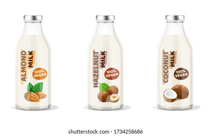 Nut Milk Bottles: almond, hazelnut, coconut vegan milk. Vector Illustration.