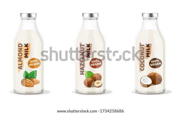 Nut Milk Bottles: almond, hazelnut, coconut vegan milk. Vector Illustration.