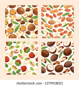 Nut vector seamless pattern nutshell of hazelnut or walnut and almond nuts backdrop set nutrition with cashew peanut and chestnuts nutmeg illustration background.