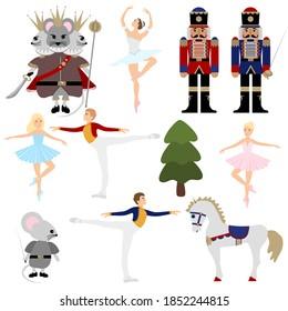 Nutcracker ballet Christmas collection. A set of vector elements. Ballerina, mouse king, horse, prince