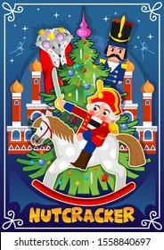Nutcracker Christmas card or winter holiday invitation vector illustration. Poster with superhero on horse, mouse character near Xmas tree. Card decorated by shiny snowflakes on blue background
