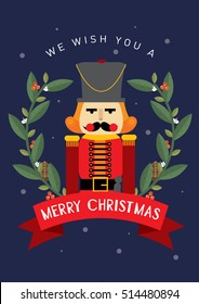 nutcracker christmas greeting card template vector/illustration