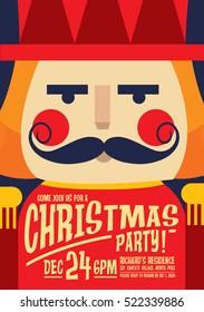 nutcracker christmas party invitation card template vector/illustration