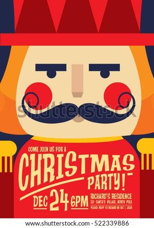 Nutcracker Christmas Party Invitation Card Template Stock Vector