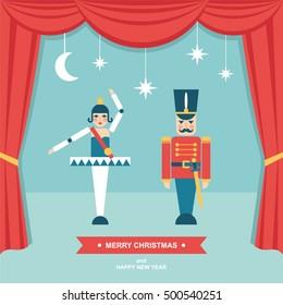 Nutcracker Christmas puppet theater scene flat vector illustration/greetings card