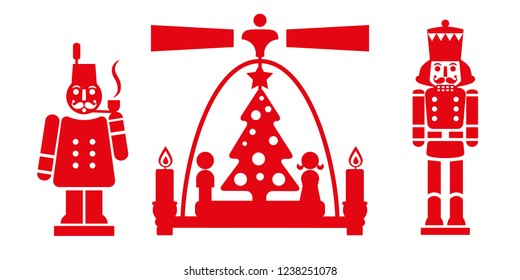 nutcracker, Christmas pyramid and smoker - traditional German Christmas decorations. Locally handcrafted figurines from the Erzgebirge. Vector illustration