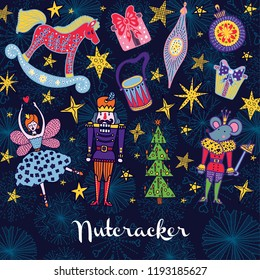 Nutcracker.  Christmas vector card