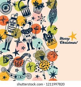 Nutcracker.  Christmas vector card