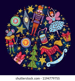 Nutcracker.  Christmas vector card. Around motif.