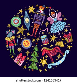 Nutcracker.  Christmas vector card. Around motif.