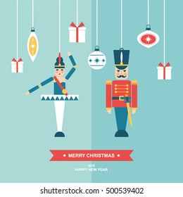 Nutcracker christmas vintage ornaments flat vector illustration/greetings card