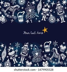 Nutcracker. Cute Christmas vector card. Around motif.