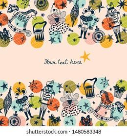 Nutcracker. Cute Christmas vector card.