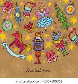 Nutcracker.  Gold Christmas cute vector card