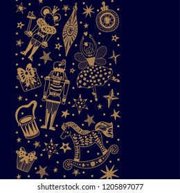 Nutcracker. Gold Christmas vector card. Around motif.