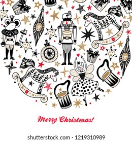 Nutcracker.  Gold Christmas vector card. Around motif.